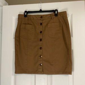 D. Jeans, camel denim skirt. 14
